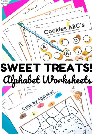 These printable cookie and cupcake alphabet worksheets are so fun for helping early learners practice letter recognition!