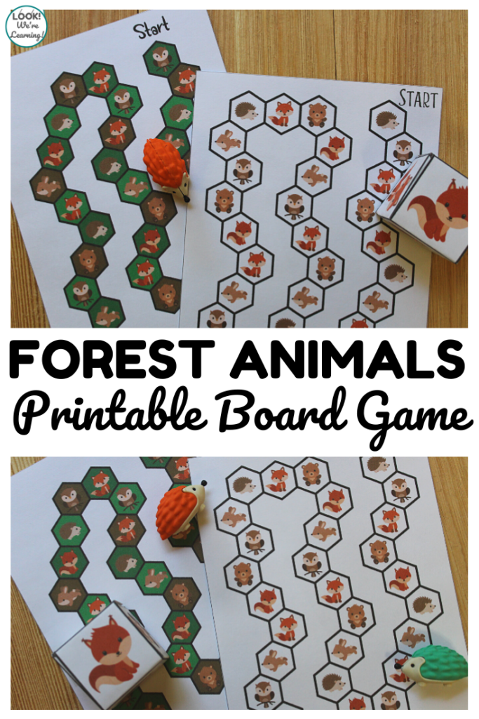 This fun printable woodland animals board game is a perfect fall-themed indoor activity for kids!