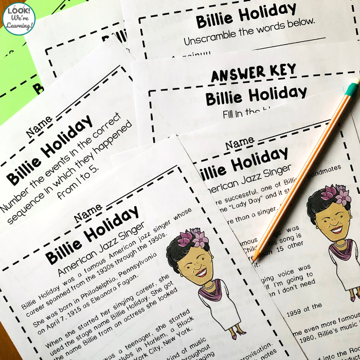 Billie Holiday Printable History Lesson