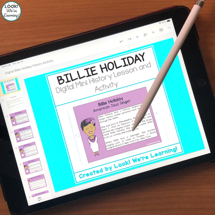 Digital Billie Holiday History Lesson for Elementary
