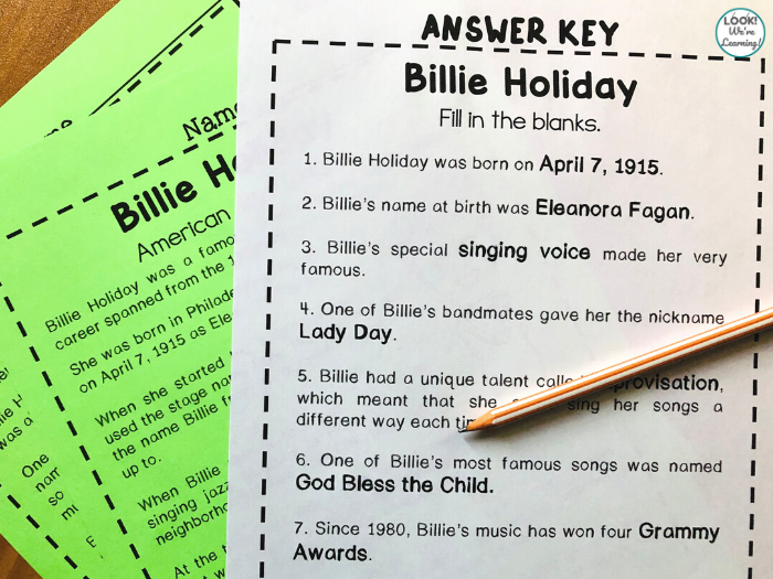 Elementary Billie Holiday History Lesson