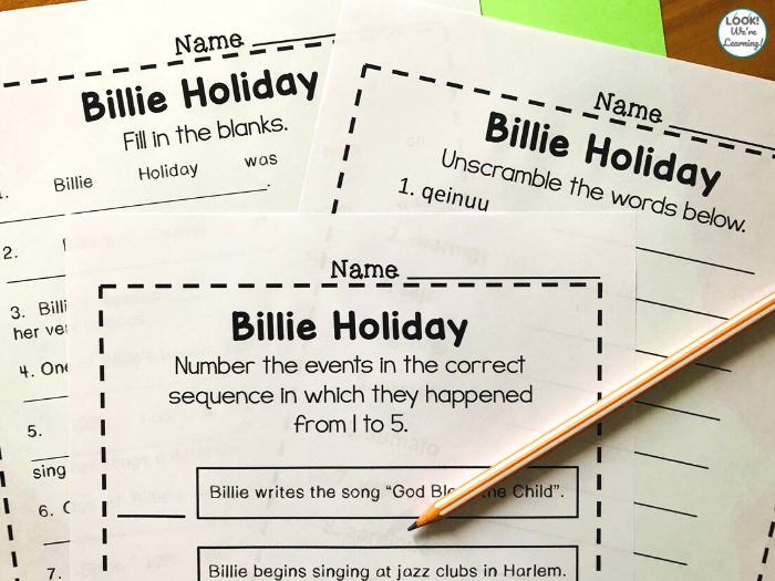 Printable Billie Holiday History Lesson for Kids