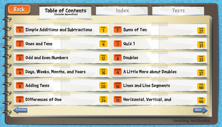 Table of Contents Ebook Teaching Textbooks