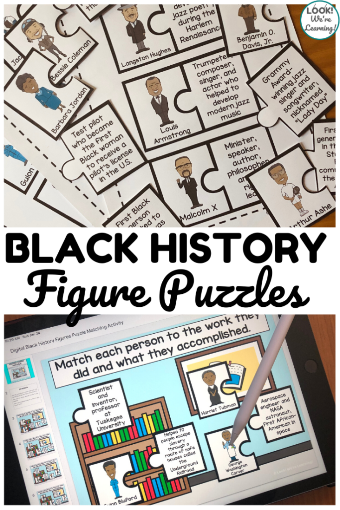 These printable and digital black history puzzles are so fun for kids!