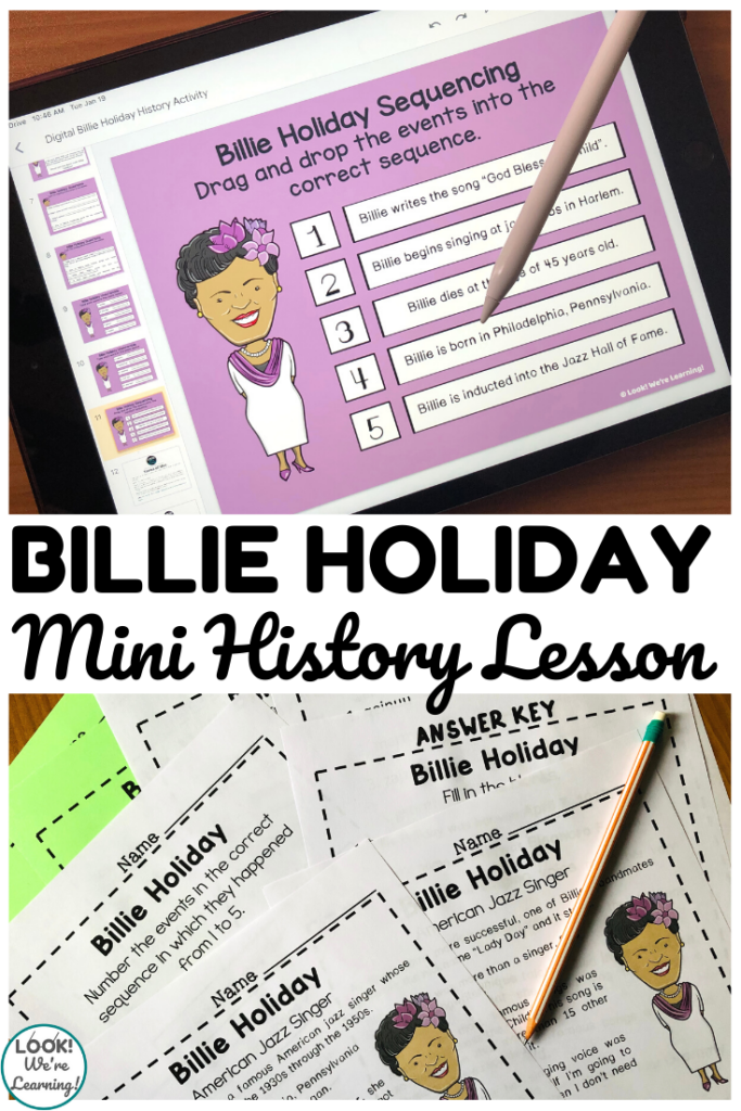 This digital and print Billie Holiday history lesson is a perfect way to teach early elementary students about this famous jazz singer!