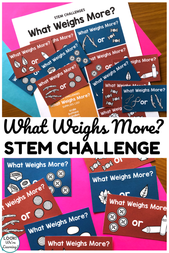 Help students measure and compare objects with these printable weight STEM challenge cards!