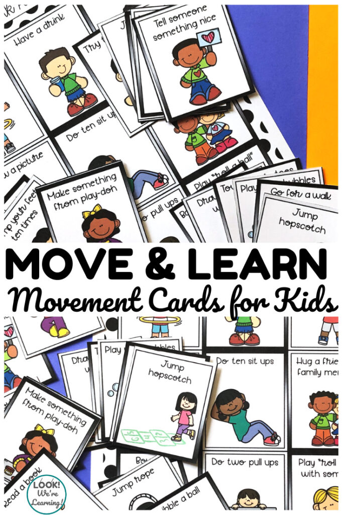 These printable movement cards for kids are a perfect way to help early learners refocus between lessons!