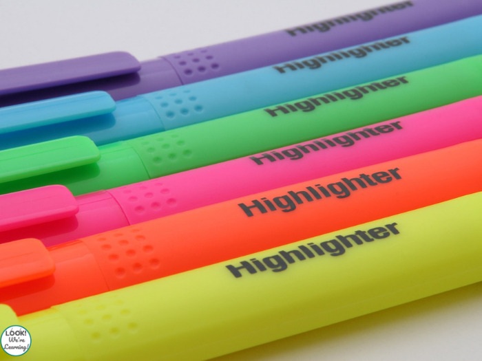 Literacy ideas for kindergarten with highlighters