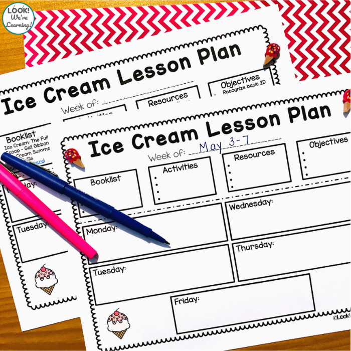 Preschool Ice Cream Theme Lesson Plan