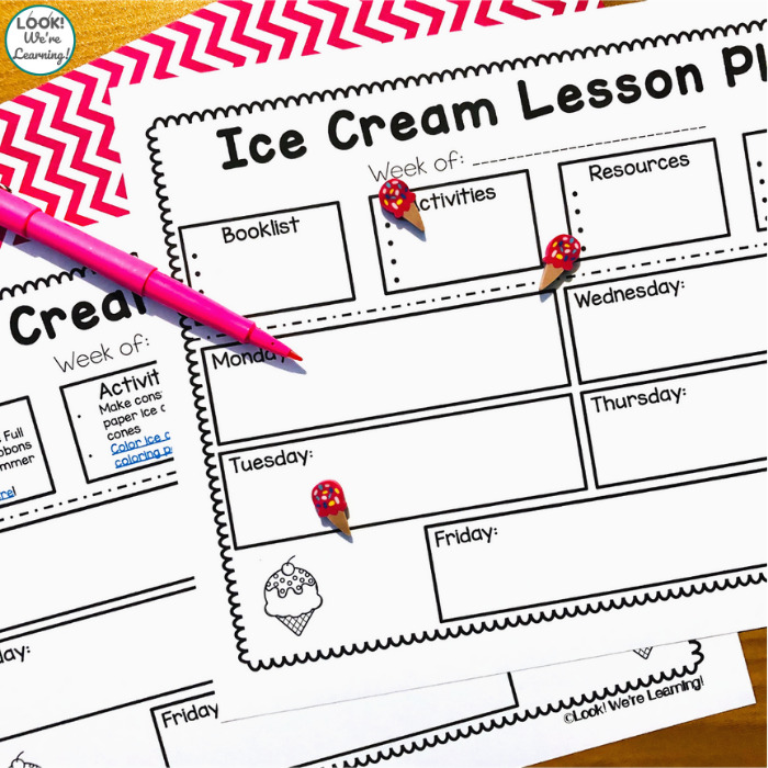 Printable Ice Cream Lesson Plan for Preschool