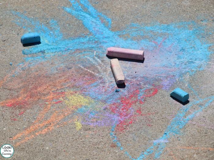 Sidewalk chalk as a literacy idea for kindergarten
