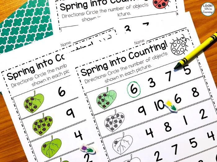 Spring Circle the Number Worksheet for Kindergarten