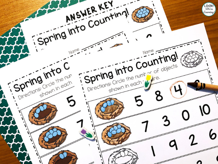 Spring Circle the Number Worksheet