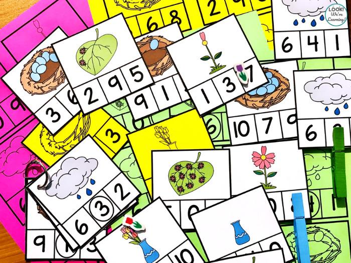 Spring Count to Ten Math Center for Kindergarten