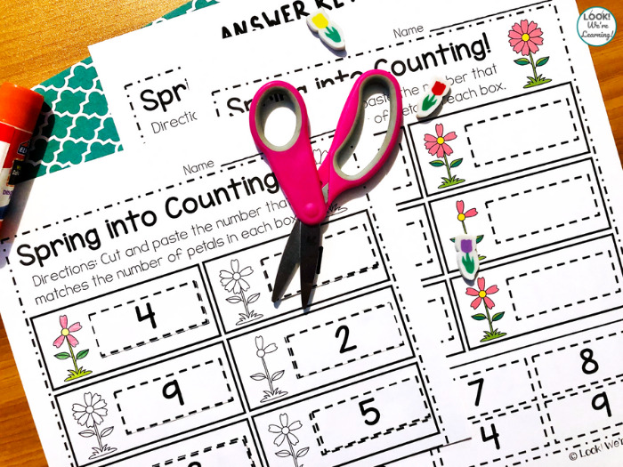 Spring Counting to Ten Cut and Paste Activity