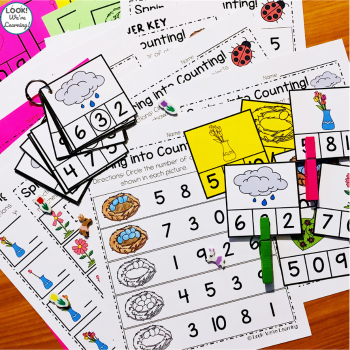 Spring into Counting Math Center for Kindergarten