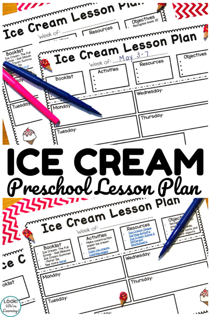 This printable ice cream lesson plan for preschool is a perfect way to plan an ice cream theme!