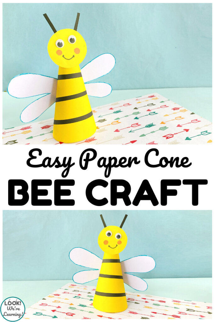 This simple paper bee craft is a fun way to make an easy spring or summer craft with kids!