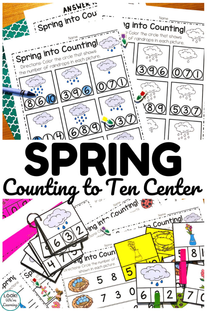 This spring counting to ten math center is excellent for kindergartners to use during spring months!