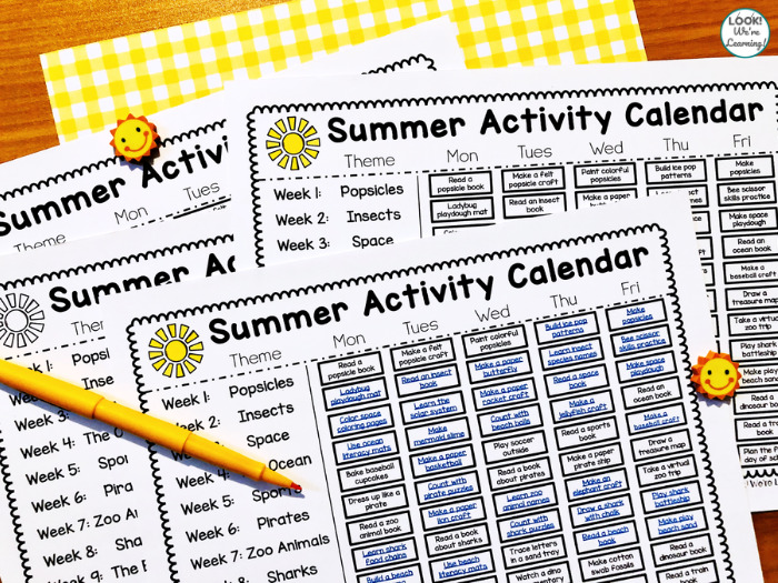 PreK Summer Activity Calendar for Kids