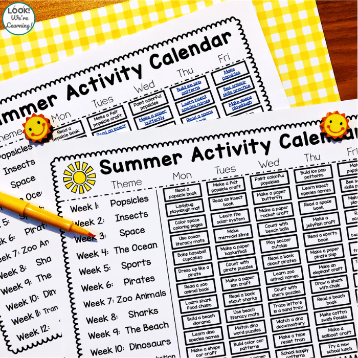 PreK Summer Calendar for Kids