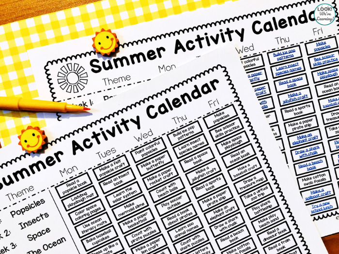 Printable Preschool Summer Activity Calendar