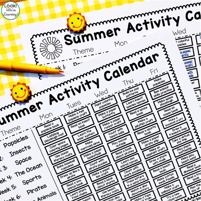Printable Preschool Summer Theme Calendar