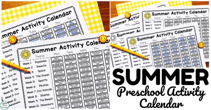 Printable Summer Fun Activity Calendar for Preschool