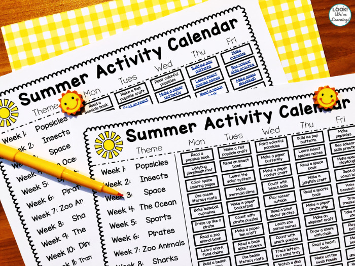 Summer Activity Calendar for Preschool