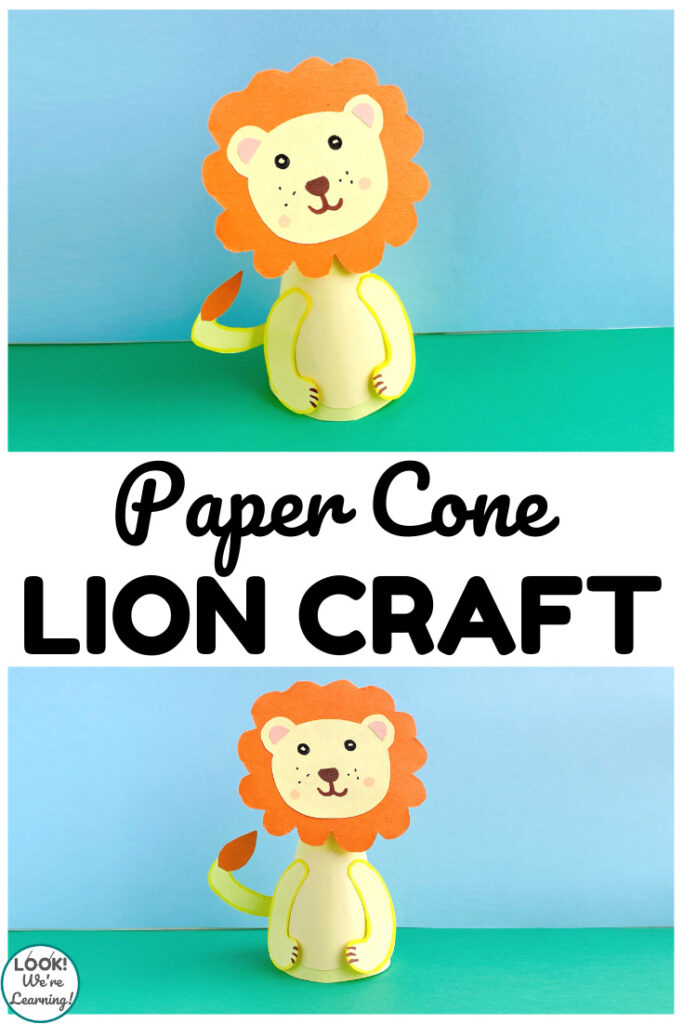 This simple paper cone lion craft is a perfect crafting project for little ones!