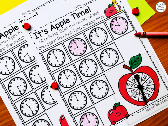 Apple Spin and Color Telling Time Activity
