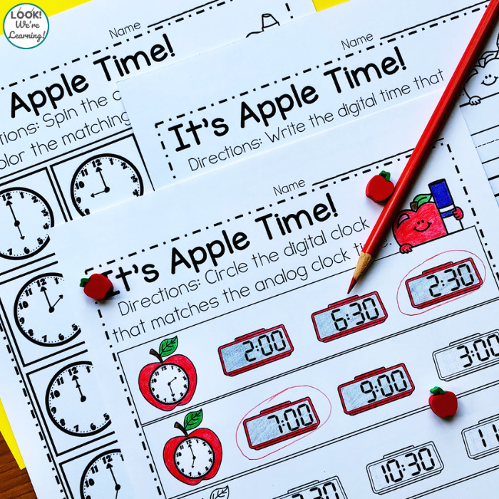 Apple Themed Telling Time Math Center