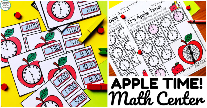 Fun Apple Telling Time Math Center for First Grade