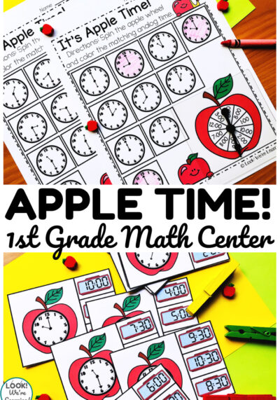 Teach first graders how to tell time to the hour and half hour with this apple themed telling time math center!