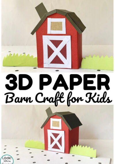 Add some crafting fun to your farm unit with this fun 3D paper barn craft for kids!