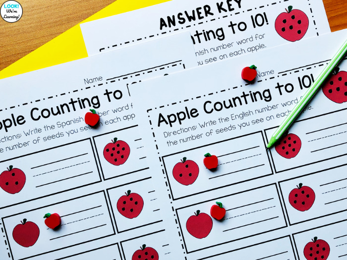 Apple Counting English and Spanish Practice