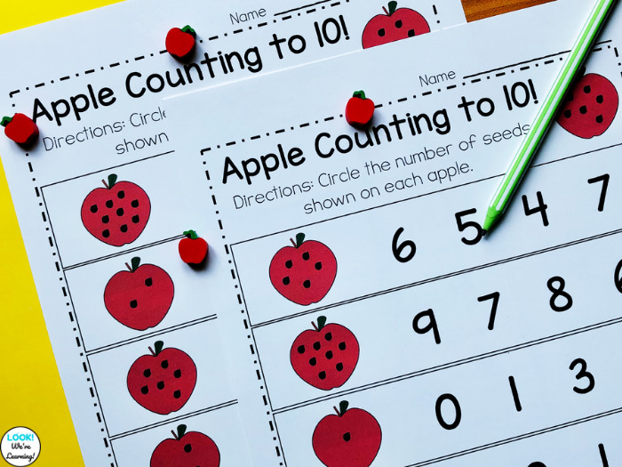 Apple Counting Worksheets for Kindergarten