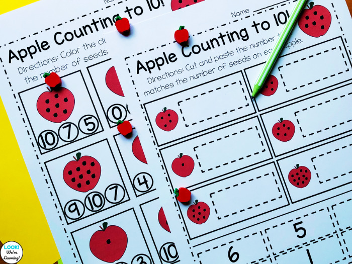 Apple Counting to Ten Math Center Activities