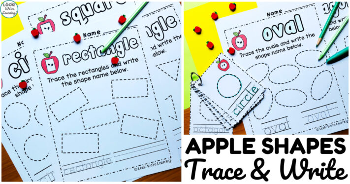 Apple Shape Trace and Write Worksheets for Kids
