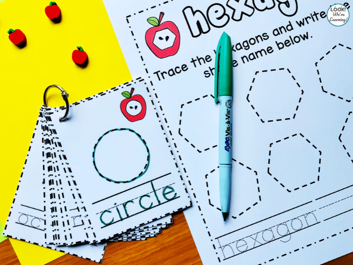 Apple Shape Tracing Cards and Worksheets