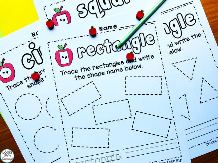 Apple Shape Tracing Worksheets for Kindergarten