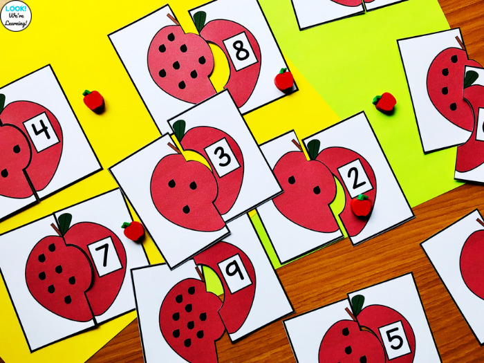 Apple Themed Counting to Ten Puzzles for Kindergarten