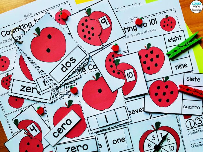 Apple Themed Kindergarten Counting to Ten Math Center