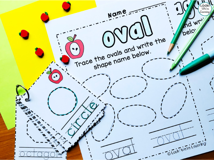 Apple Themed Shape Tracing Worksheets