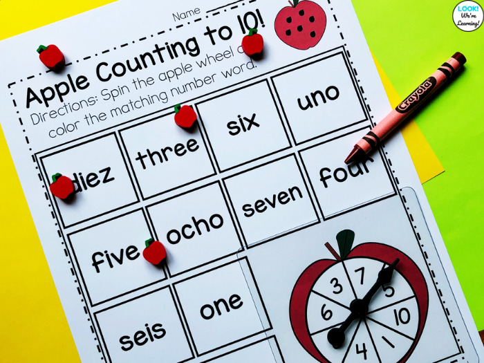 Easy Apple Counting to Ten Math Center for Kindergarten