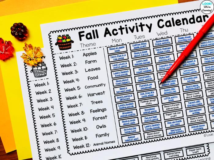 Easy Fall Themed Activity Calendar for Preschool