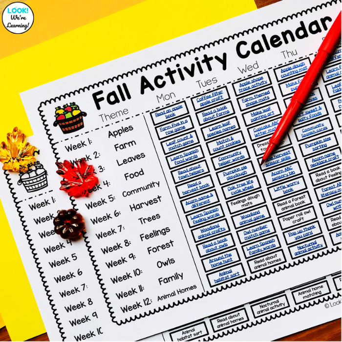 Fall Preschool Themed Calendar