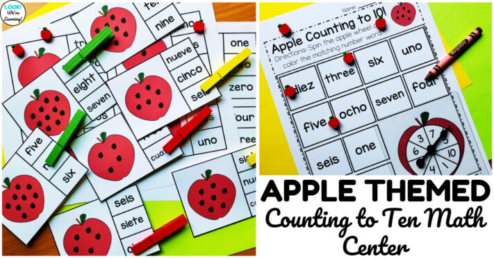 Fun Kindergarten Apple Counting to Ten Math Center