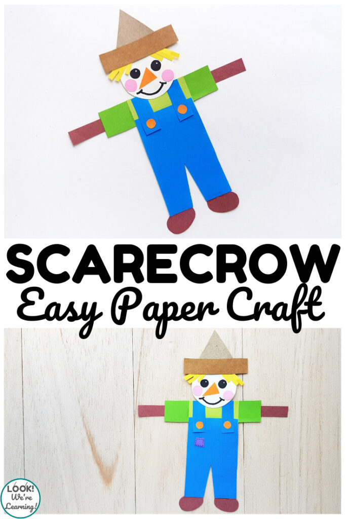 Make this easy paper scarecrow craft with kids during harvest time!