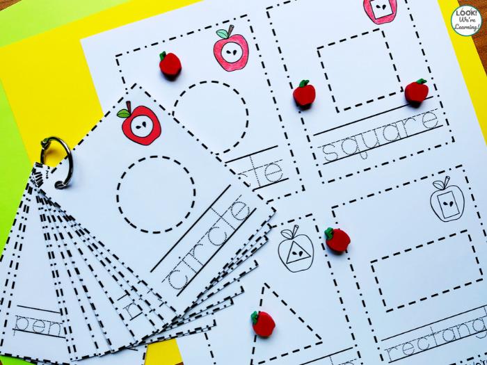 Plane Shape Tracing Worksheets for Kids